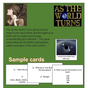 As The World Turns Fun and Educational game board & 24 question cards