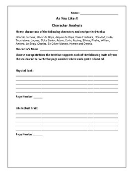 As You Like It Character Analysis Activity - William Shakespeare