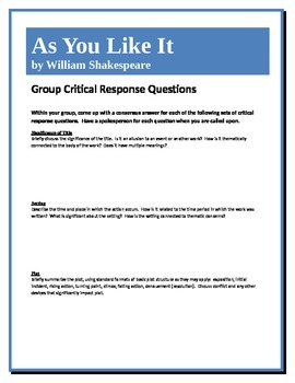 As You Like It - Shakespeare - Group Critical Response Questions