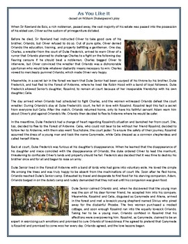 As You Like It - The Story - Reading Comprehension Worksheet