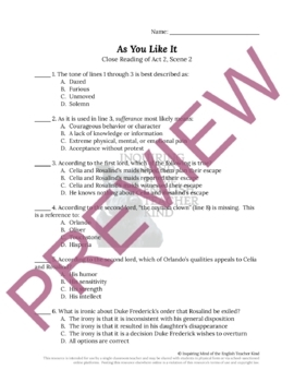 As You Like It by Shakespeare Quiz & Test Bundle (Set of 6 Assessments)