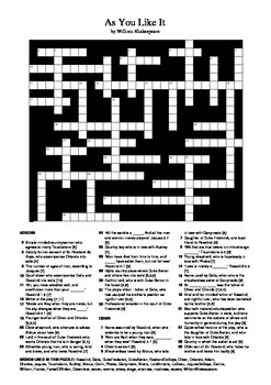 As You Like It by William Shakespeare - Crossword Puzzle