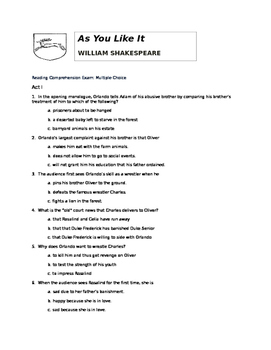 As You Like It by William Shakespeare: Multiple Choice Reading Test