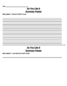 As You Like It by William Shakespeare - Summary Packet