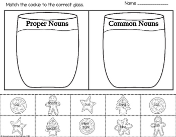 Milk and Cookies - A Common and Proper Noun Sort