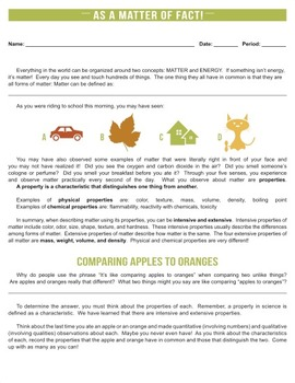 Chemical and Physical Properties - As a Matter of Fact {Editable}