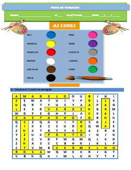As cores ( the colours) worksheets