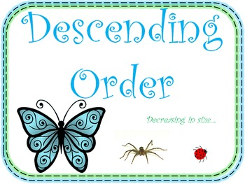 Ascending Order and Descending Order (Math Posters for your Math Word Wall)
