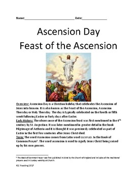 Ascension Day - Holy Thursday lesson history facts information questions