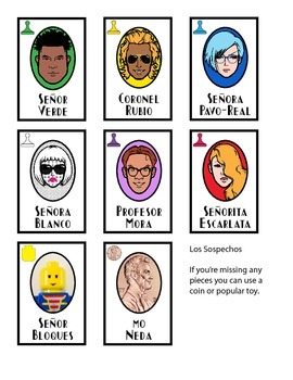 Asesinato - Spanish Game - Clue remix - all cards translated