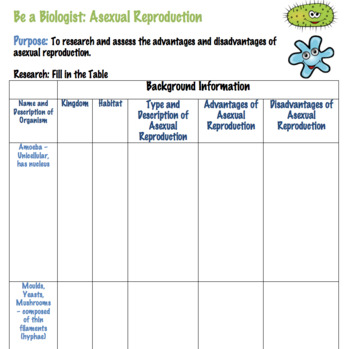 Asexual Reproduction Activity (Editable)