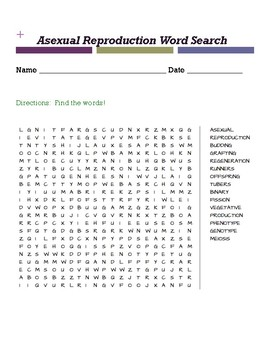 Asexual Reproduction Word Search