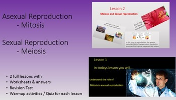 Asexual & Sexual Reproduction Mitosis & Meiosis PowerPoint Worksheets & Answers