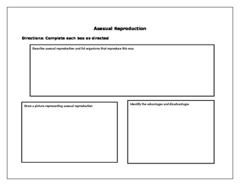 Asexual vs Sexual Reproduction Graphic Organizer