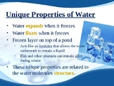 Properties of Water and pH: Presentation, Notes and Lab