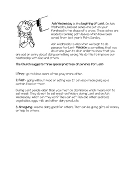 Ash Wednesday & Lent Information/Reflection