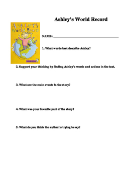 Ashley's World Record Comprehension Questions