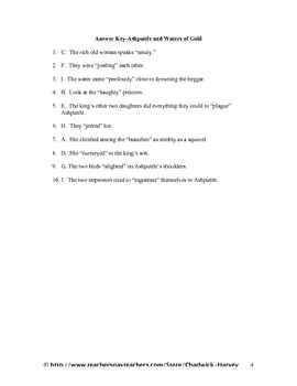 Ashputtle and Waters of Gold Vocabulary Quiz Worksheet