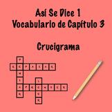 Así Se Dice 1 Capítulo 3 Vocabulary Crossword
