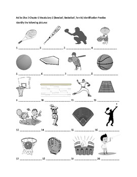 Así Se Dice 1 Chapter 5 Vocab 2 (Baseball Basketball) Identification Practice