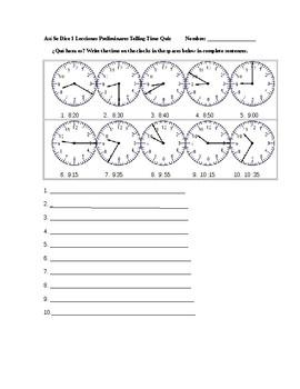 Así Se Dice 1 Lecciones Preliminares Telling Time Quiz
