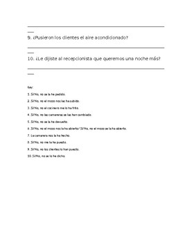 Así Se Dice 2 Chapter 7 Present Perfect and Object Pronouns Quiz/Practice/Review