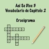 Así Se Dice 3 Vocabulary Crossword Ch 2