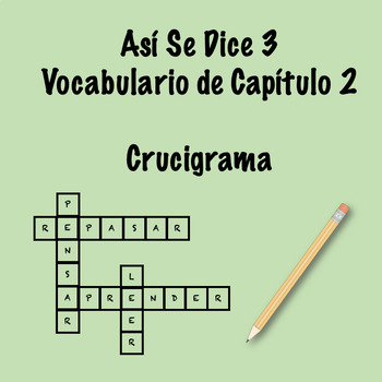 Así Se Dice 3 Vocabulary Crossword Ch 2