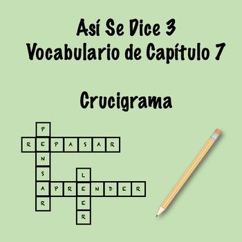 Así Se Dice 3 Vocabulary Crossword Ch 7