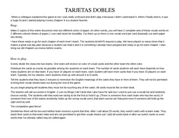 ASD3 Cap1 Vocab Game: Tarjetas Dobles