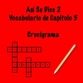 Así Se Dice Vocabulary Chapter 5 Crossword