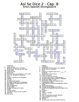 Así Se Dice Vocabulary Chapter 8 Crossword