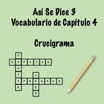 Así Se Dice Vocabulary Crossword Ch 4