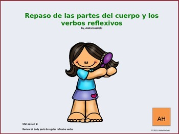Asi se Dice, Ch 2, less 2 2nd yr spanish:  body parts & re