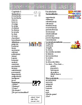 Asi se dice 1, Capitulo 1 vocab and grammar template