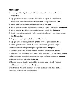 Así se dice 1, Chapter 1. Vocabulary, Exercise 2