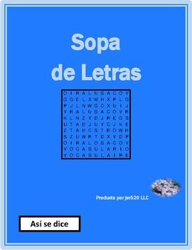 Así se dice 1 Lecciones preliminares Wordsearch
