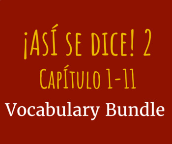 Así se dice 2, 1-11 Vocabulary Lists Bundle