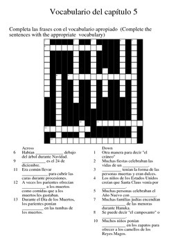 Asi se dice 2 - Chapter 5 Vocab Crossword