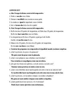Así se dice 3. Chapter 2. Comparatives of equality. Quiz - Activity