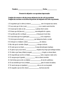 Así se dice 3. Chapter 2. Subjunctive with impersonal expressions. Quiz-Activity