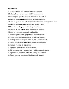Así se dice 3. Chapter 2. Subjunctive with stem changing verbs. Quiz - Activity
