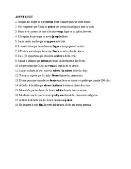 Así se dice 3. Chapter 3. Subjunctive with expressions of emotion. Quiz-Activity