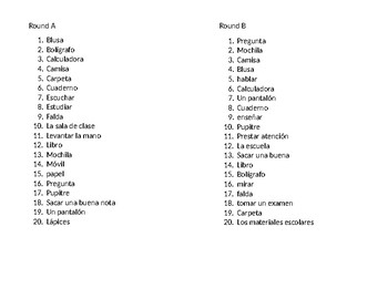 Asi se dice! Level 1 Chapter 3 Vocabulary 1 Game/Review