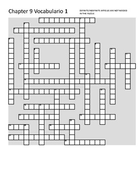 Así se dice: Level 1 Chapter 9 Vocabulario 1 Crossword