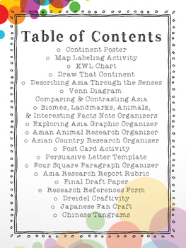 Asia Continent Research Packet
