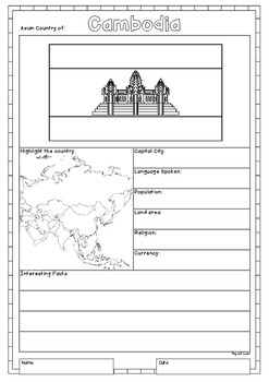 Asia 48 Countries Study - worksheets with maps and flags for each country