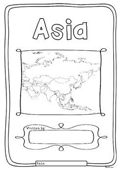 Asia 48 Countries Study - worksheets with maps and flags f