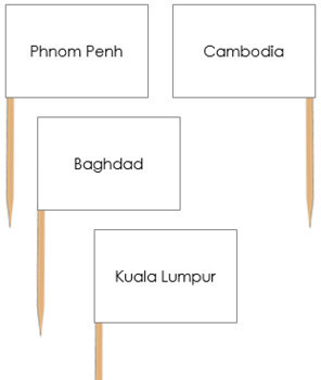 Asian Capital City Labels - Pin Map Flags