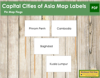 Asia Capital City Labels - Pin Map Flags